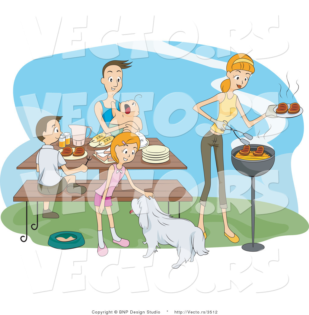Vector Of Happy Family Having Bbq Picnic By Bnp Design