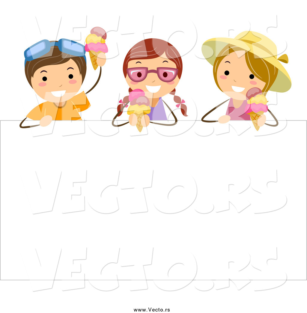 Fresh Ice Cream Stick In Summer Wallpaper Vector: Vector Of Happy White Stick Kids Eating Ice Cream Over A
