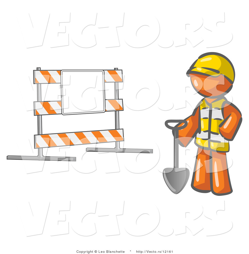 Vector Of Orange Guy Construction Worker In A Yellow Vest And Hardhat Holding Shovel