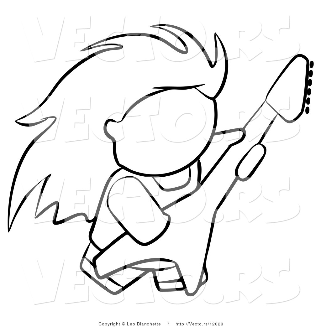 Vector of Rock Guitarist Person - Coloring Page Outlined Art by Leo ...
