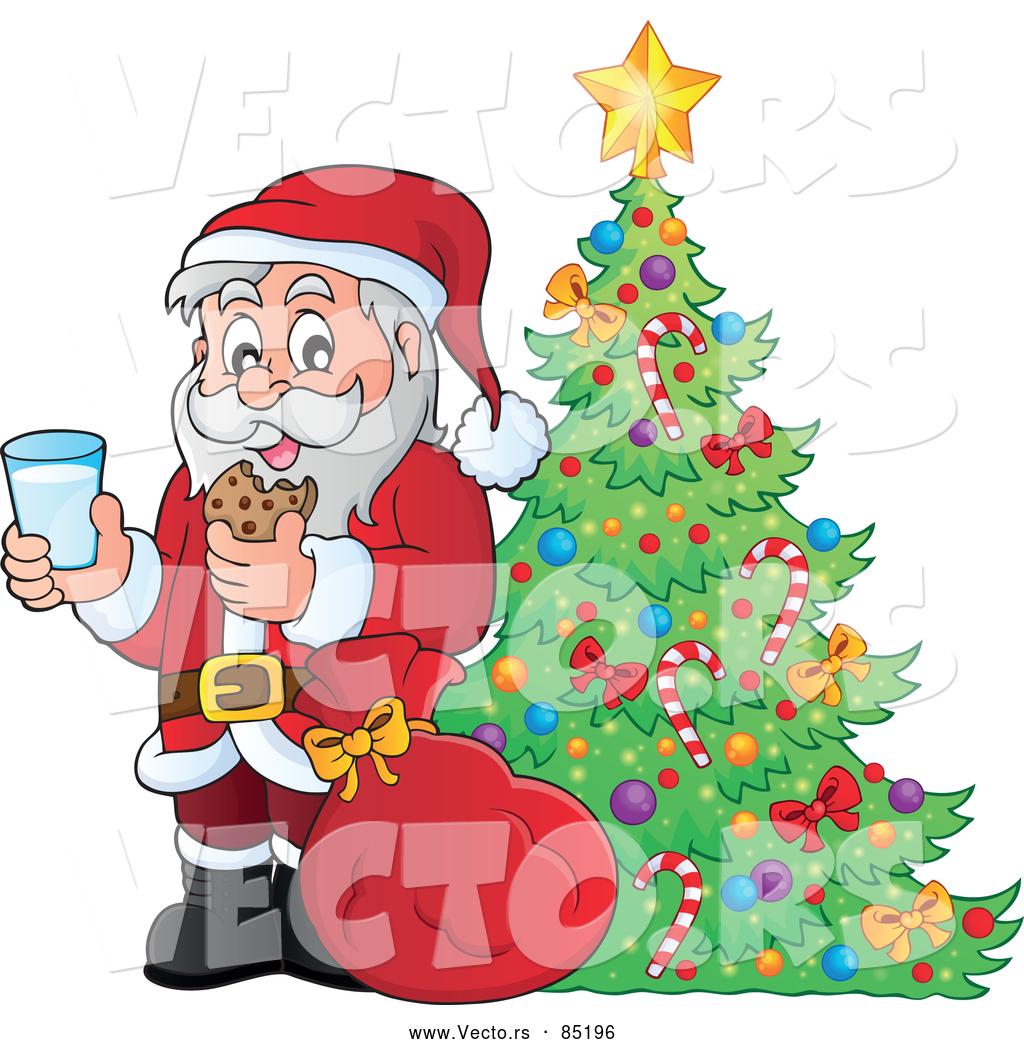 Vector Of Santa Enjoying Milk And Cookies Beside A Pretty Christmas