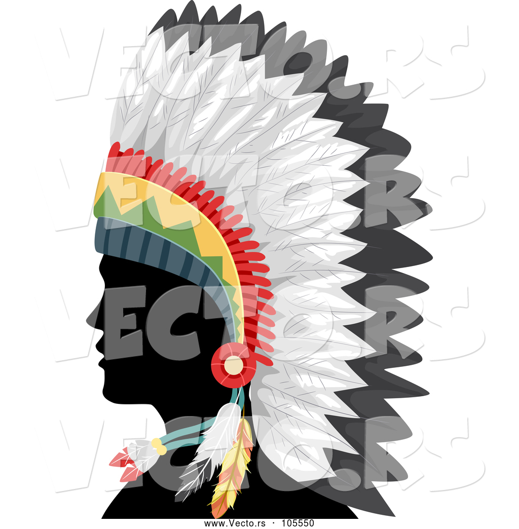 vector of silhouetted native american indian guy in a feather rh vecto rs indian headdress clipart free indian feather headdress clipart