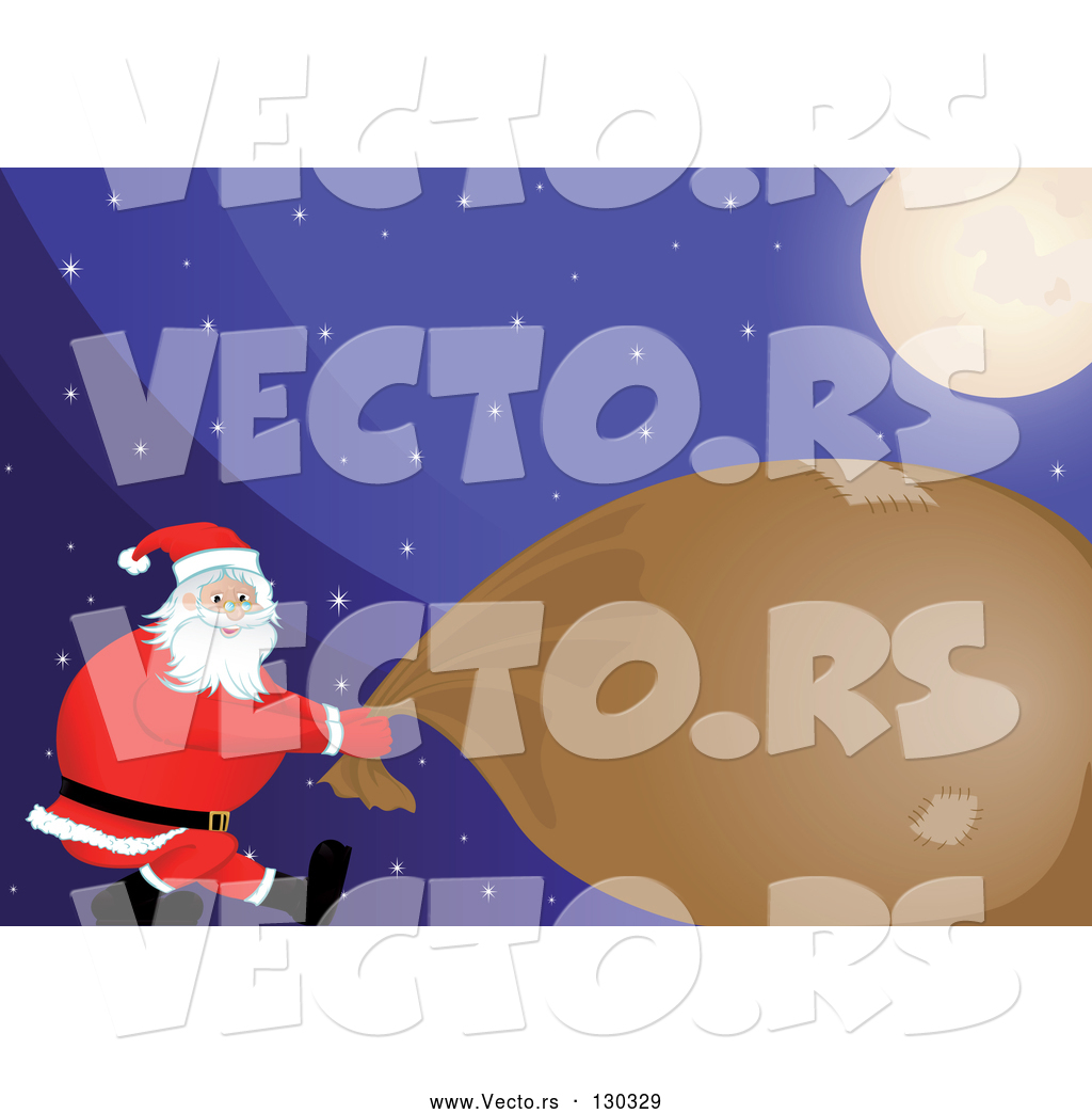 864eee8fe7b1c Vector of Strong Santa Pulling Heavy Gift Sack Under a Bright Moon on a  Snowy Christmas Eve Night