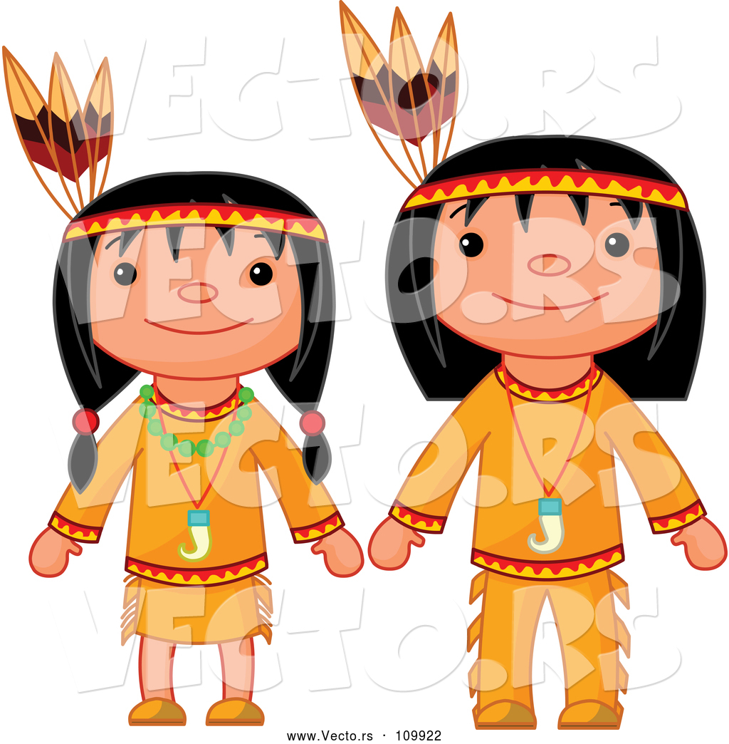 Vector Of Thanksgiving Native American Girl And Boy