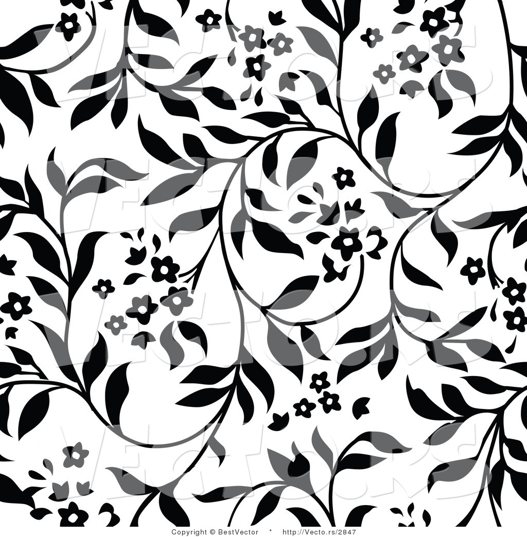 Vector Of White And Black Floral Vines Background Pattern Version