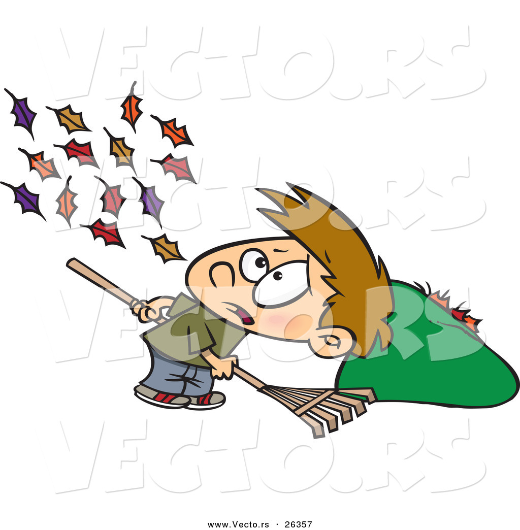 Vector Of Wind Blowing More Autumn Leaves To The Ground For A Cartoon Boy To Rake Up By Toonaday 26357