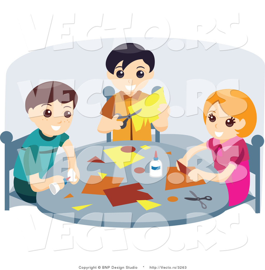 Vector of Young Girl and Two Boys Doing Crafts at a School Table