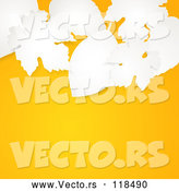 3d Vector of 3d White Paper Leaves over an Autumn Orange Background with Text Space by Elaineitalia