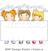 Cartoon Vector of 3 Graduating Kids Standing Behind Blank Sign with Big Smiles by BNP Design Studio