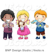 Cartoon Vector of 3 Happy Diverse Kids Holding Toys and Smiling by BNP Design Studio