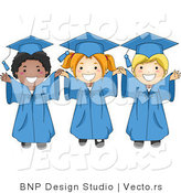 Cartoon Vector of 3 Happy Graduation Kids Smiling Big with Arms out by BNP Design Studio