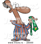 Cartoon Vector of a Black Man Wearing Pajamas and Holding an Ugly Christmas Tie by Toonaday