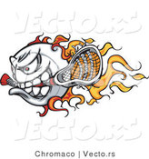 Cartoon Vector of a Competitive Flaming Lacrosse Ball Mascot Speeding Forward by Chromaco