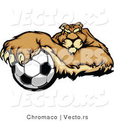 Cartoon Vector of a Competitive Puma Mascot Gripping Soccer Ball with Paw by Chromaco