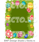 Cartoon Vector of a Easter Border with Colorful Eggs over Grass by BNP Design Studio