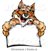 Cartoon Vector of a Friendly Cartoon Fox Mascot Holding a Blank Sign by Chromaco