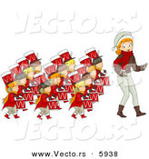 Cartoon Vector of a Girl Leading Twelve Drummers Drumming on the Twelfth Day of Christmas by BNP Design Studio