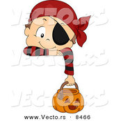 Cartoon Vector of a Halloween Boy Wearing Pirate Costume Hanging over a Sign by BNP Design Studio