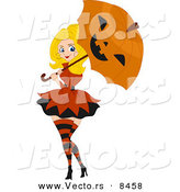 Cartoon Vector of a Halloween Pinup Girl Using Jack O'Lantern Umbrella by BNP Design Studio