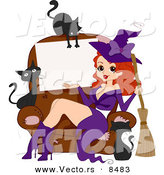 Cartoon Vector of a Happy Halloween Pinup Witch Girl Advertising Blank Sign with Black Cats by BNP Design Studio