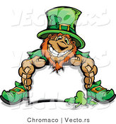 Cartoon Vector of a Happy Leprechaun Mascot Sitting Behind Blank Sign by Chromaco