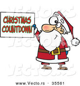 Cartoon Vector of a Happy Santa Holding Christmas Countdown Sign by Toonaday