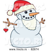 Cartoon Vector of a Happy Snowman Santa by Gnurf