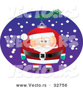 Cartoon Vector of a Santa Christmas Ornament on Tree Outside by Toonaday