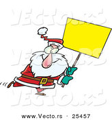 Cartoon Vector of a Santa Walking with a Blank Sign by Toonaday