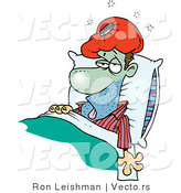 Cartoon Vector of a Sick Man Turning Green While Laying in Medical Bed with Ice Pack over Head by Toonaday