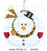 Cartoon Vector of a Snowman Ornament by Toonaday