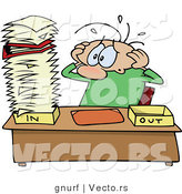 Cartoon Vector of a Stressed out Office Worker Looking at an Overwhelming Stack of Unprocessed Paperwork by Gnurf