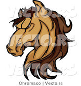 Cartoon Vector of a Strong Grinning Brown Horse Staring with Intimidating Eyes by Chromaco