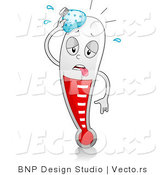 Cartoon Vector of a Thermometer with a Fever by BNP Design Studio