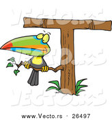 Cartoon Vector of a Toucan on an Alphabet Letter 'T' Shaped Tree by Toonaday