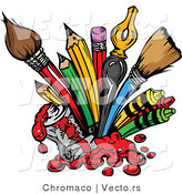 Cartoon Vector of Art Supplies: Pencils, Ink Pens, Paint Brushes by Chromaco