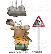 Cartoon Vector of Boulder Falling on a Black Man Staring at a Sign by Toonaday