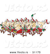 Cartoon Vector of Christmas Drummers Drumming by Toonaday