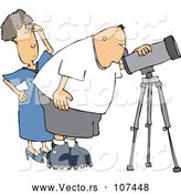 Cartoon Vector of Chubby White Male Astronomer and His Wife Looking Through a Telescope by Djart