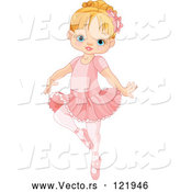Cartoon Vector of Cute Blond Girl Danncing Ballet in a Tutu by Pushkin