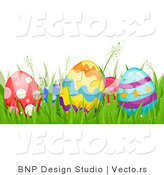 Cartoon Vector Of Easter Eggs Hidden In Grass Border By BNP Design Studio