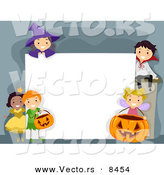 Cartoon Vector of Halloween Kids Around a Blank Sign by BNP Design Studio