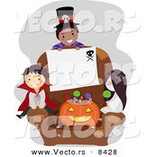 Cartoon Vector of Halloween Kids with Blank Sign on a Chair by BNP Design Studio