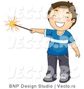 Cartoon Vector of Happy Boy Holding Lit Sparkler Firework on the 4th of July by BNP Design Studio
