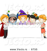 Cartoon Vector of Happy Halloween Kids Holding a Blank Banner by BNP Design Studio
