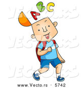 Cartoon Vector of Happy School Boy with the a B C Alphabet on His Mind by BNP Design Studio