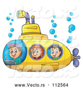 Cartoon Vector of Happy White Children in a Yellow Submarine by Visekart
