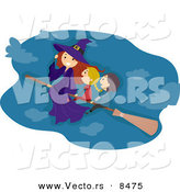 Cartoon Vector of Kids and a Witch Flying on a Broomstick by BNP Design Studio