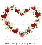 Cartoon Vector of Love Heart Vine Border Frame with Dots by BNP Design Studio