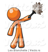 Cartoon Vector of Orange Guy Cleaning with a Feather Duster by Leo Blanchette